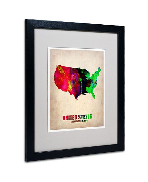 """Trademark Global Naxart 'United States Watercolor Map' Matted Framed Art - 20"""" x 16"""" x 0.5"""""""