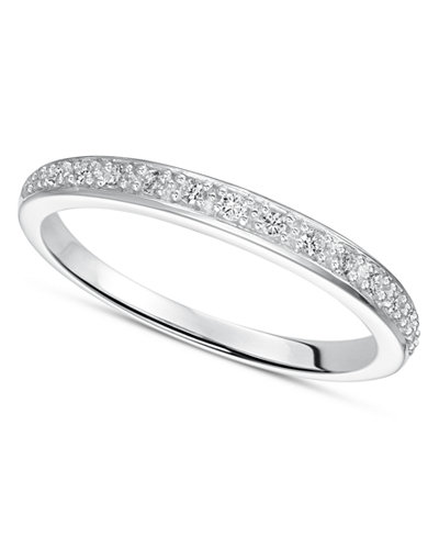 Diamond Wedding Band Ring In Sterling Silver 1 8 Ct Tw