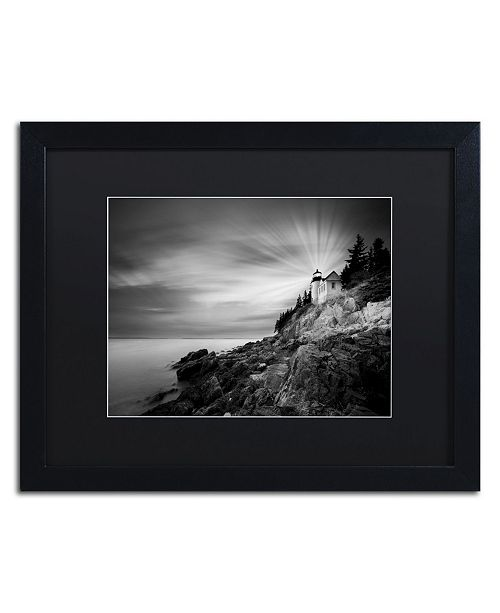 "Trademark Global Moises Levy 'Bass Harbor Lighthouse' Matted Framed Art - 16"" x 20"" x 0.5"""
