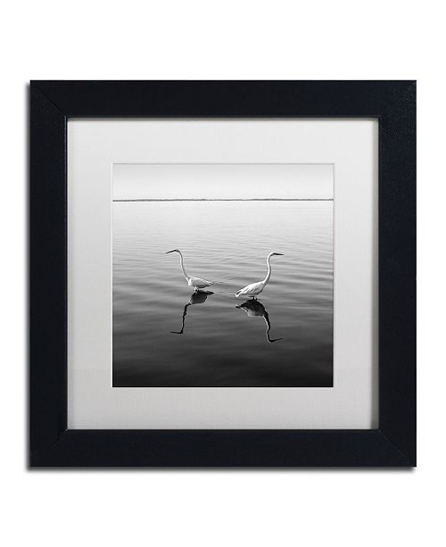 "Trademark Global Moises Levy '2 Herons' Matted Framed Art - 11"" x 11"" x 0.5"""