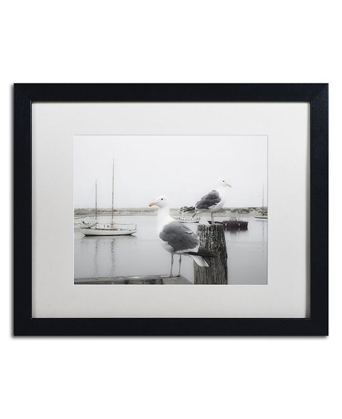 """Trademark Global Moises Levy 'Two Seagulls & Boats' Matted Framed Art - 16"""" x 20"""" x 0.5"""""""