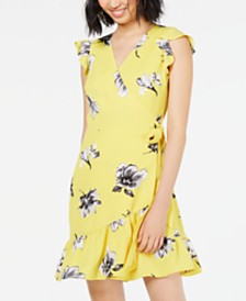 Bar III Floral-Print Ruffled Wrap Dress, Created for Macy's