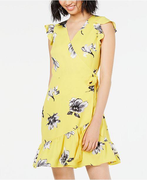 Bar III Floral-Print Ruffled Wrap Dress, Created for Macy's