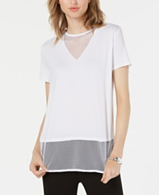 Bar III Mesh Illusion V-Neck T-Shirt, Created for Macy's