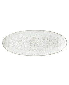 Global Tapestry Oval Server White