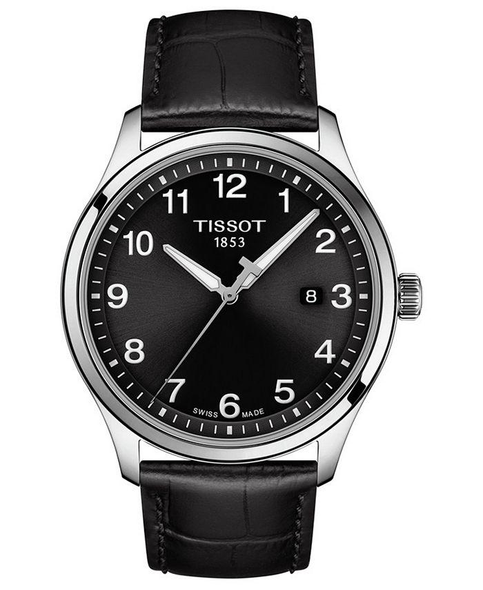 Tissot - Men's Swiss Gent XL Black Leather Strap Watch 42mm