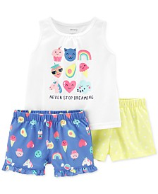 Carter's Toddler Girls 3-Pc. Printed Pajamas Set