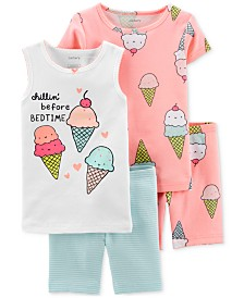 Carter's Toddler Girls 4-Pc. Cotton Ice Cream Pajamas Set