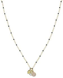 "Hamsa Hand Multi-Charm Beaded Pendant Necklace in Gold-Plated Sterling Silver, 16"" + 2"" extender"