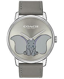 Disney x COACH Women's Dumbo Grand Gray Leather Strap Watch 40mm