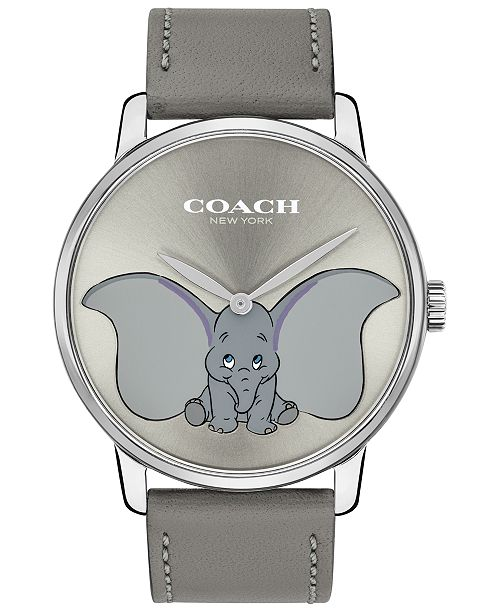 COACH Disney x Women's Dumbo Grand Gray Leather Strap Watch 40mm