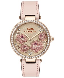 Women's Park Ice Pink Leather Strap Watch 34mm