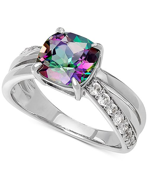 Macy's Mystic Fire Topaz (2-3/8 ct. t.w.) & Lab Created White Sapphire (3/8 ct. t.w.) Statement Ring in Sterling Silver