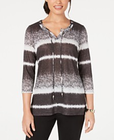 JM Collection Striped Shine Pullover Top, Created for Macy's