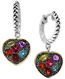 EFFY® Multi-Gemstone (4 ct. t.w.) Drop Earrings in Sterling Silver & 18k Gold-Plate
