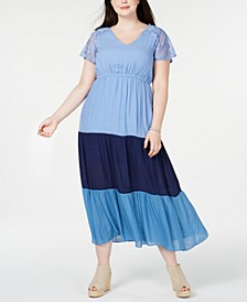 Plus & Petite Plus Size Colorblocked Lace Maxi Dress