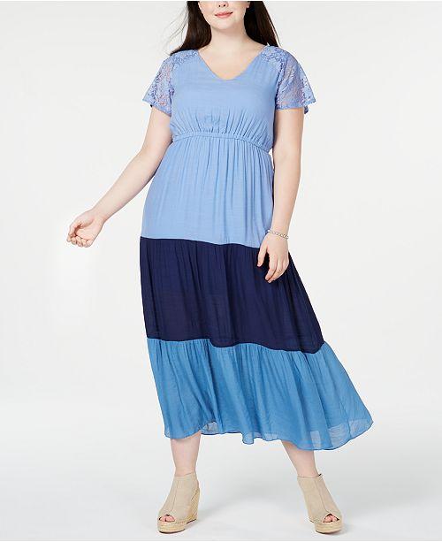 Plus & Petite Plus Size Colorblocked Lace Maxi Dress