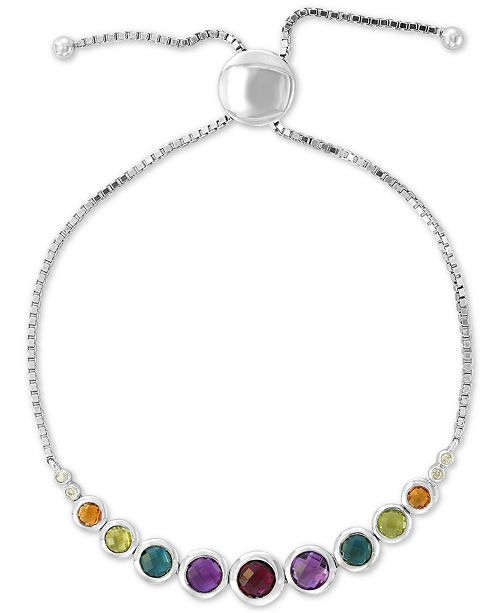 EFFY Collection EFFY® Multi-Gemstone (2-3/8 ct. t.w.) & Diamond Accent Bolo Bracelet in Sterling Silver