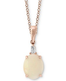 """EFFY® Opal (1-1/3 ct. t.w.) & Diamond Accent 18"""" Pendant Necklace in 14K Rose Gold"""