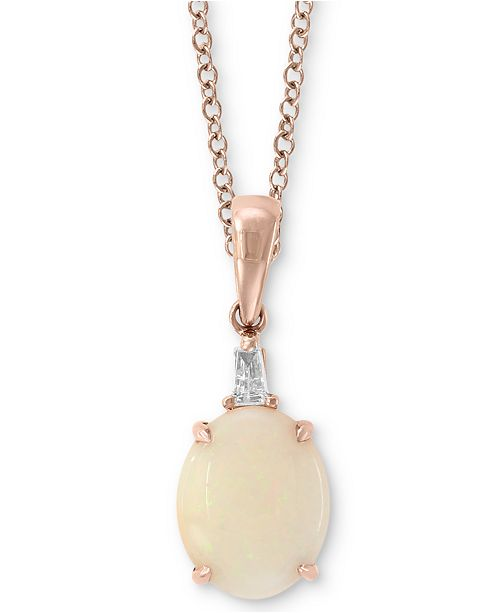 """EFFY Collection EFFY® Opal (1-1/3 ct. t.w.) & Diamond Accent 18"""" Pendant Necklace in 14K Rose Gold"""