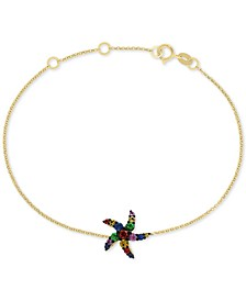 EFFY® Multi-Sapphire (3/8 ct. t.w.) Starfish Bracelet in 14k Gold