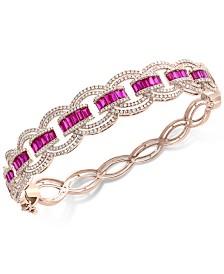 EFFY® Certified Ruby (3 ct. t.w.) & Diamond (2 ct. t.w.) Bracelet in 14k Rose Gold