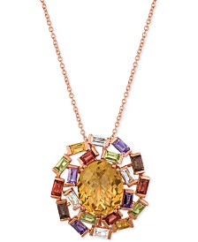 "Le Vian Baguette Frenzy™ Multi-Gemstone 18"" Pendant Necklace (6-1/10 ct. t.w.) in 14k Rose Gold"
