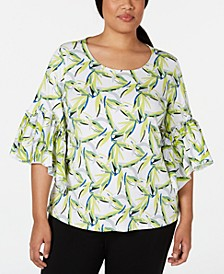Plus Size Printed Ruffle-Sleeve Top, Created for Macy's