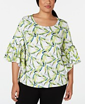 4976879ebf2cce Alfani Plus Size Printed Ruffle-Sleeve Top, Created for Macy's