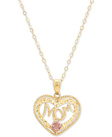 "Mom Heart 18"" Pendant Necklace in 10k Gold & 10k Rose Gold"