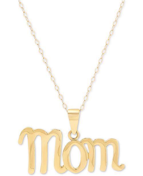 """Macy's Mom Script 18"""" Pendant Necklace in 10k Gold"""