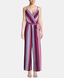 ECI Sleeveless Striped Faux-Wrap Jumpsuit