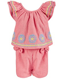 First Impressions Baby Girls Embroidered Romper, Created for Macy's