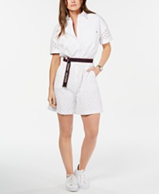 Tommy Hilfiger Cotton Short-Sleeve Eyelet Belted Romper, Created for Macy's