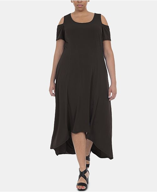 NY Collection Plus Size Cold-Shoulder High-Low Maxi Dress ...