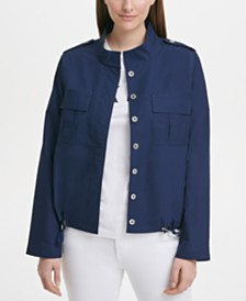 DKNY Cotton Drawstring-Hem Jacket