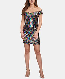 Off-The-Shoulder Sequined Shift Dress, Created for Macy's