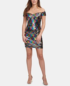 GUESS Off-The-Shoulder Sequined Shift Dress, Created for Macy's