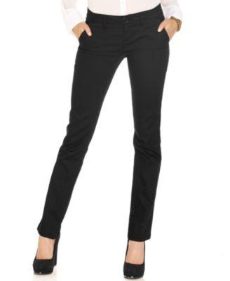 Black straight leg dress pants