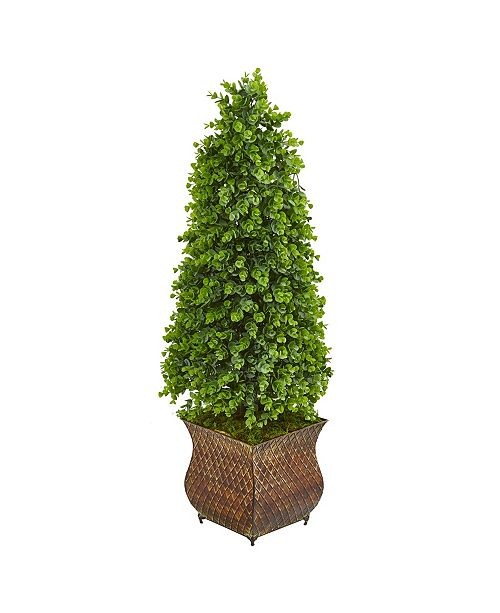 """Nearly Natural 41"""" Eucalyptus Cone Topiary Artificial Tree in Metal Planter (Indoor/Outdoor)"""