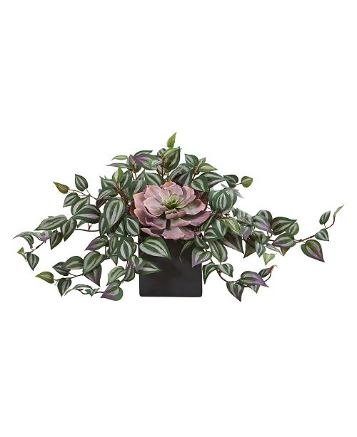Nearly Natural Echeveria and Purple Heart Evergreen Artificial Plant in Black Vase