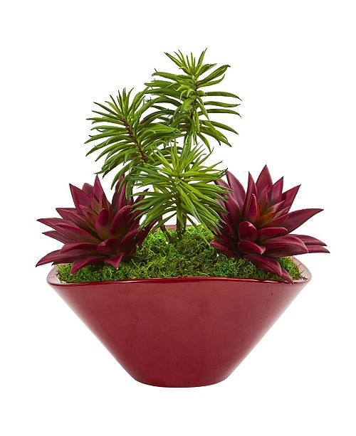 Nearly Natural Succulent Garden Artificial Plant in Burgundy Vase
