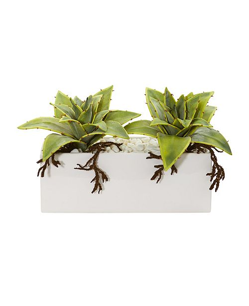 Nearly Natural Succulent Artificial Plant in White Ceramic Vase
