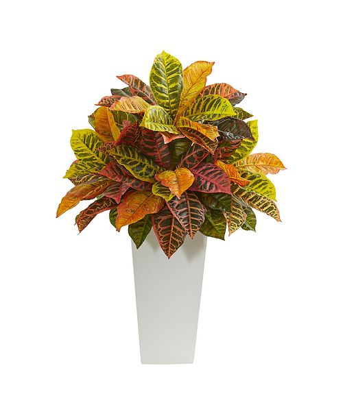 "Nearly Natural 27"" Croton Artificial Plant in White Tower Planter (Real Touch)"
