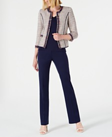 Anne Klein Cropped Fringed Jacket, Double V-Neck Top & Flare-Leg Pants