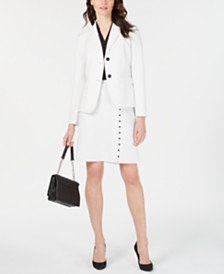 Nine West Windowpane Jacket, Skirt & V-Neck Top