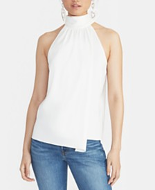 RACHEL Rachel Roy Deena High-Neck Faux-Wrap Top