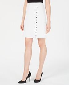 Nine West Button Windowpane Plaid Skirt