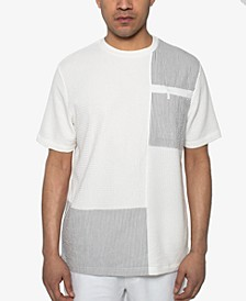 Men's Seersucker Pattern-Blocked T-Shirt