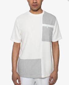 Sean John Men's Seersucker Pattern-Blocked T-Shirt